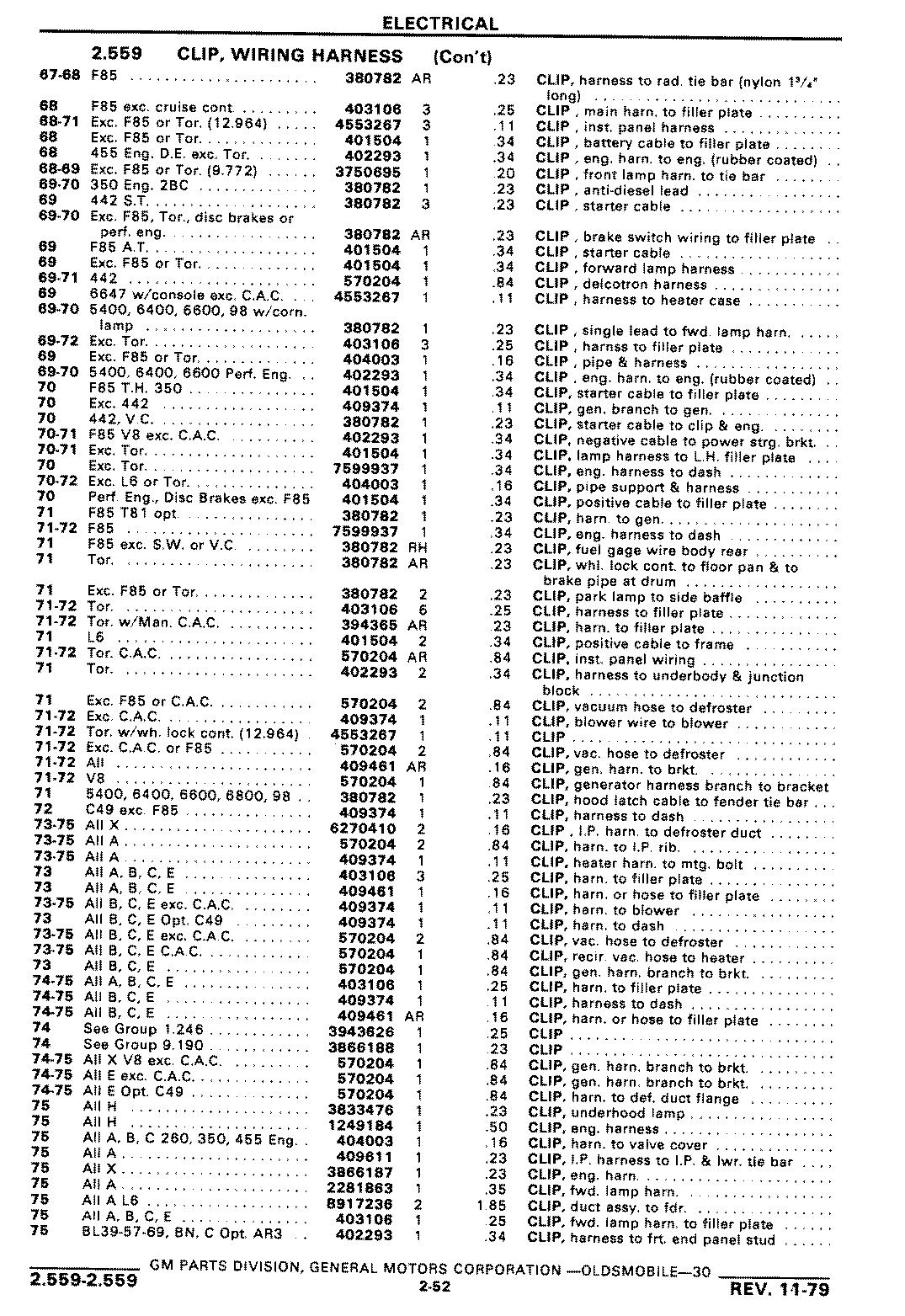 Gmpartswiki Chassis And Body Parts Catalog Pa 30 November 1979 Rib Harness Clip Wiring